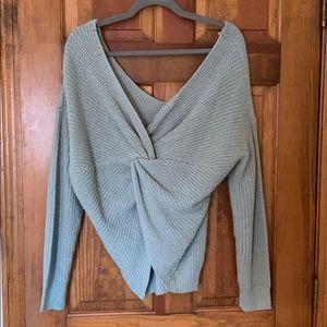Green Twist Back Sweater